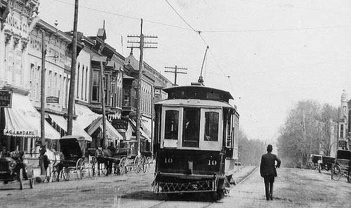 Princeton Trolley black and white photo