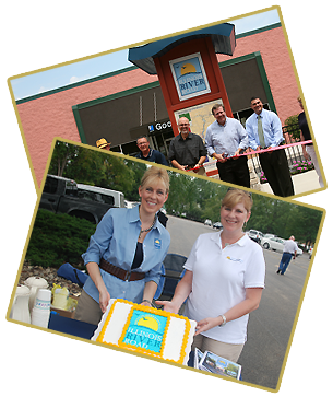 Pictures of ribbon cutting and cake eating ion celebration to Illiniois River Road